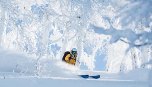 mujer esquiadora en Niseko